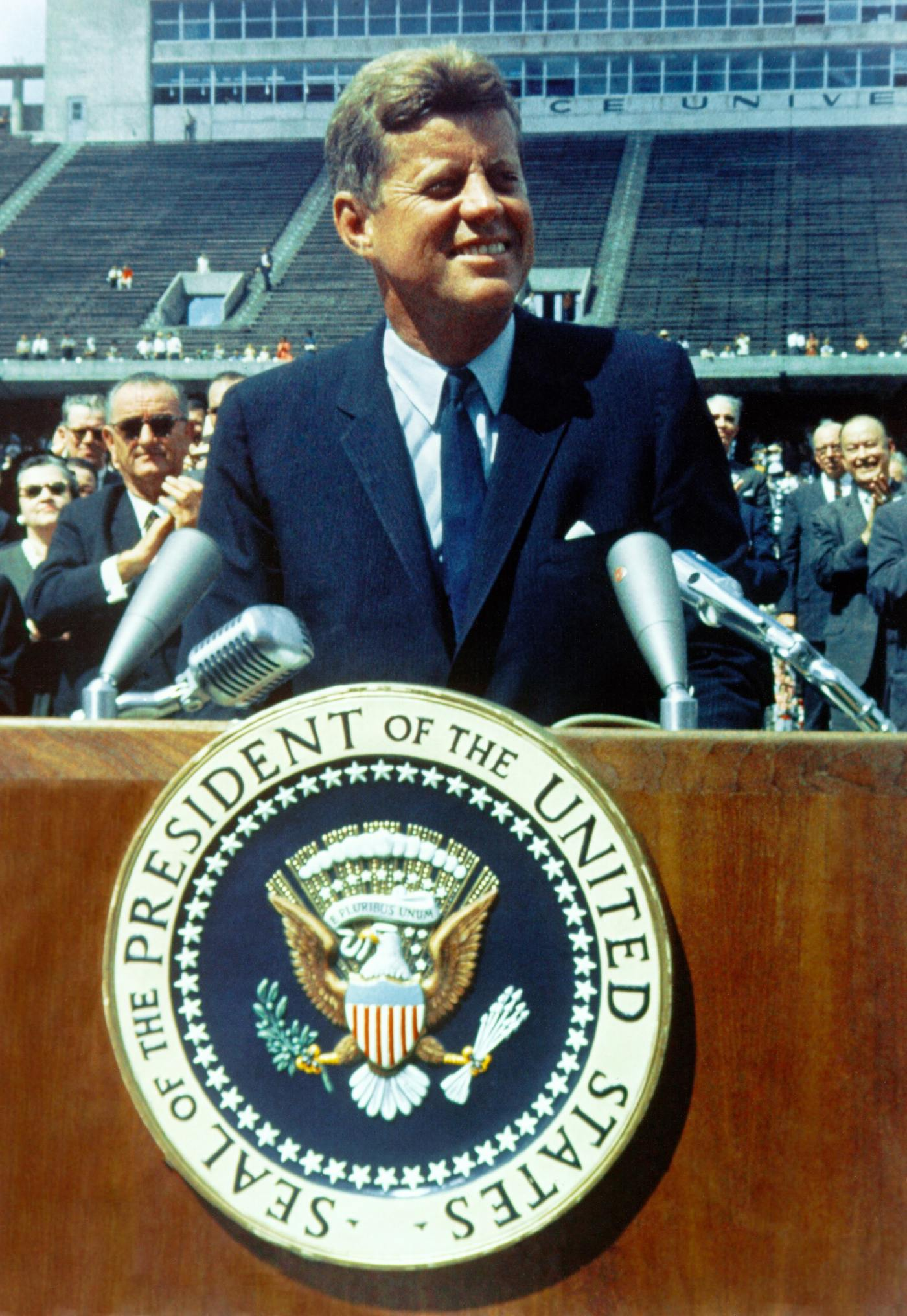 Historical photo of JFK speaking engagement